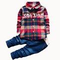 2016 Spring Kids Clothing Set Boy Warm Clothing Sets Children's Fashion Plaid Suit Boys Clothes Baby Kids Sets