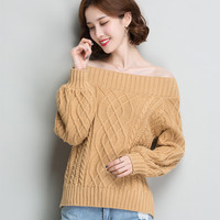Off shoulder sweater sexy knitted sweater women winter 2018 christmas jumper winter tops women pullovers and sweaters KK2527
