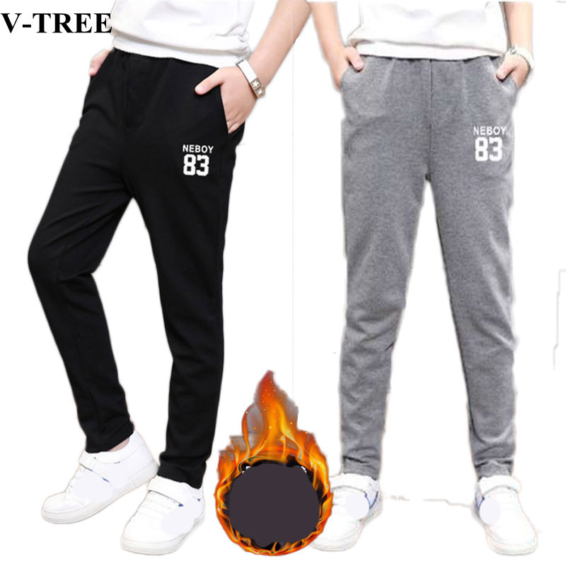 Winter Fleece Boys Pants Plus Velvet Pants For Children 3-12yrs Teenager Sport Pants Kids Trousers Children Sweatpants цена