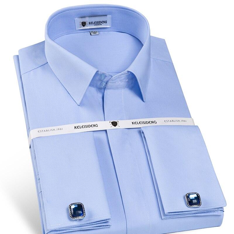 남자의 프랑스어 전면 숨겨진 된 단추 솔리드 드레스 셔츠 표준 맞는 긴 소매 능 직물 웨딩 파티 셔츠 (커 프 스 단추 포함)