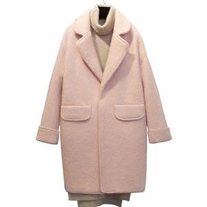 Image 2 - Streetwear ארוך צמר מעיל Loose יחיד חזה צמר תערובת מעיל מעיל תורו למטה צווארון נשים מעילי סתיו חורף