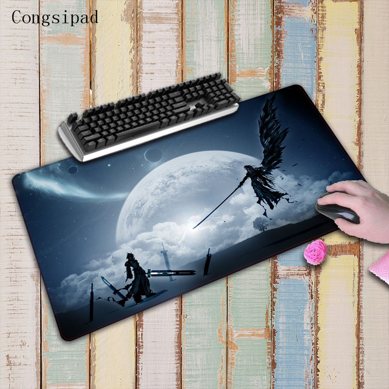 Congsipad Large White Lock Edge Mousepad Speed Game Mousemat For <font><b>Final</b></font> Fantasy Gaming <font><b>Mouse</b></font> Pad Stitched Edge Desk <font><b>Mice</b></font> Mat image