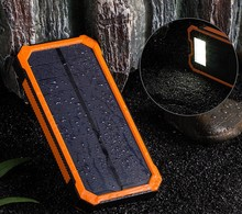 Solar Power Bank Dual USB Power Bank 20000 mAh Waterproof PowerBank Bateria External Portable Solar Panel with LED Burgundy