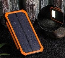 Solar Power Bank Dual USB Power Bank 20000 mAh Waterproof PowerBank Bateria External Portable Solar Panel with LED Burgundy