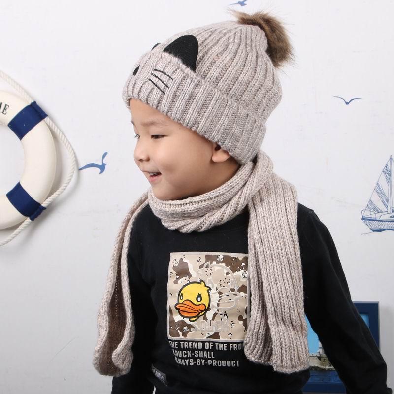 Halten Warme Herbst Und Winter Kind Cap Und Schal Winddicht Dicker Baumwolle Stricken Kappe Lange Schal Warm Schal 3- 7 Jahre
