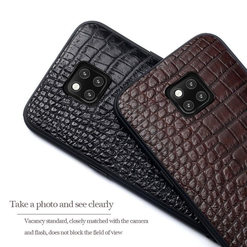 Para Companheiro 20 Genuine Phone case Couro Para Huawei P10 P20 Lite Pro caso do Estilo do Negócio do Triângulo Textura Para O Companheiro 20 pro capa - 5