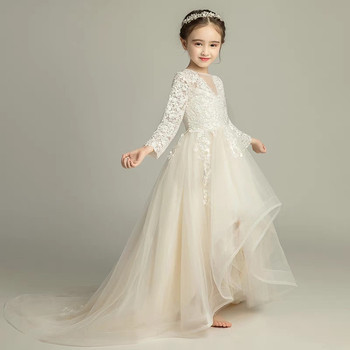 2018Children Girls Luxury Elegant Embroidery Lace Birthday Wedding Party Long Tail Dress Baby Kids Model Show Piano CostumeDress