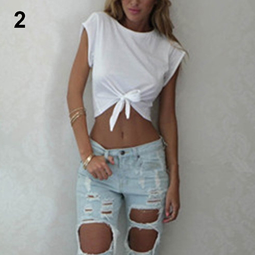 Women's Summer Fashion Casual Short Sleeve O-neck T-shirt Bow Tie Crop Tops New Arrival