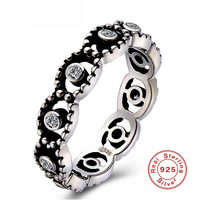 Vintage S925 Sterling Silver Ring Bijoux Angel Eyes Design Crystal Women Retro Finger Rings Valentine Lovers