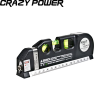 Crazy Power Genuine Laser Level Wire Infrared Multipurpose Level Laser Horizon Vertical Measure Tape Aligner Bubbles Ruler