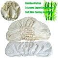 Súper Algodón De Bambú Pañales de Tela Reutilizables Pañal Absorbencia Fuerte Paquete de 2 UNIDS Insertos