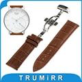 18mm hebilla de mariposa banda de cuero genuino para activite withings/acero pop smart watch correa de acero inoxidable la pulsera del corchete