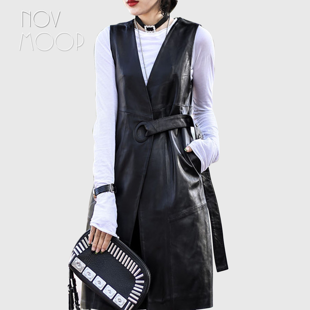 High street Black genuine leather vest real lambskin leather long trench coat veste femme chalecos mujer