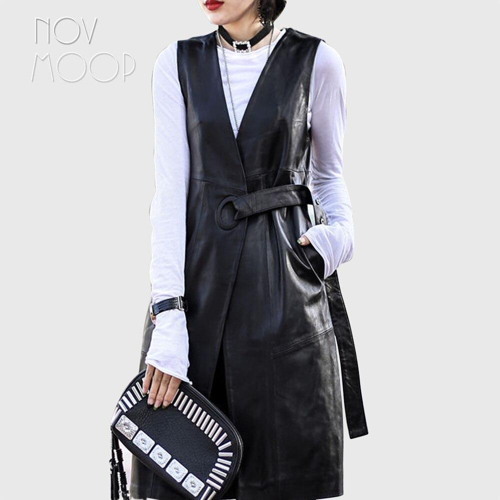 High street Noir véritable en cuir gilet réel agneau en cuir longue tranchée manteau veste femme chalecos mujer colete gilet LT1905