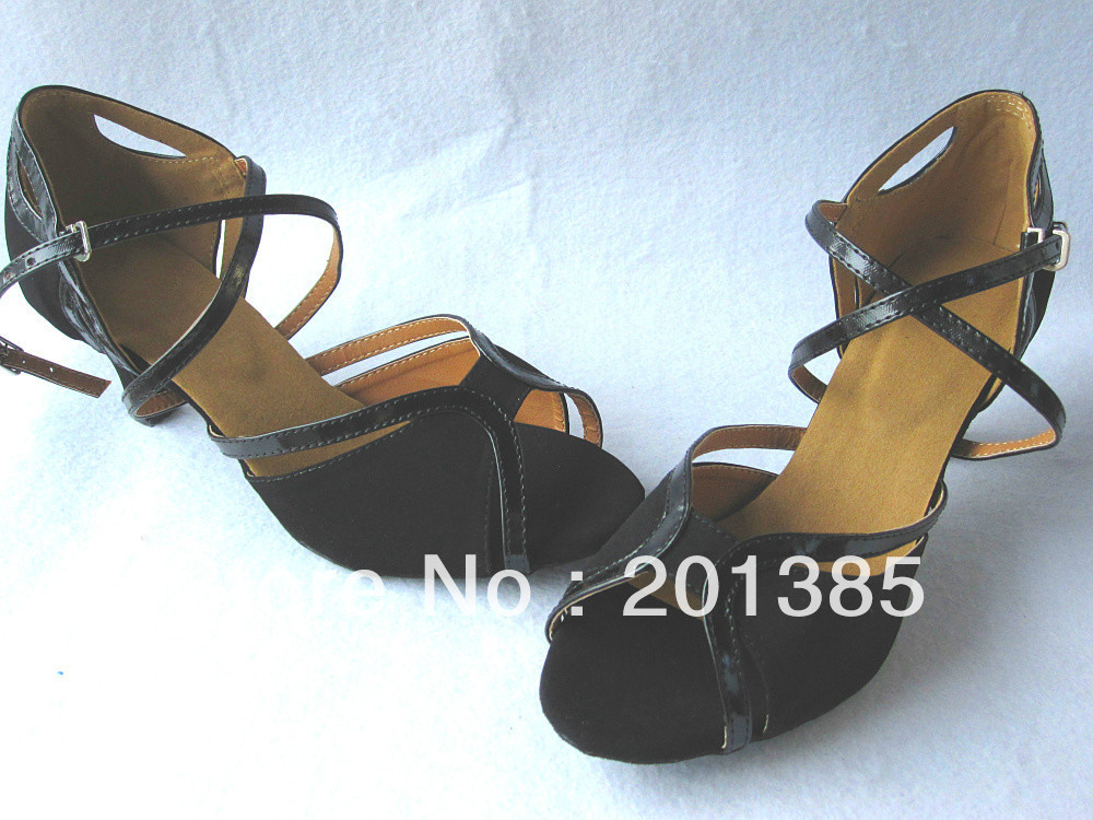 Пикантные женские черные бархатный латинский Обувь для бальных танцев обувь Сальса Танго Бачата туфли для мамбы Размер 34,35, 36,37, 38,39, 40,41
