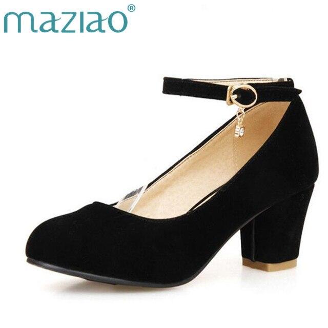 cfd60558a MAZIAO/весенние красные туфли на среднем каблуке с круглым носком, размеры  32, 33