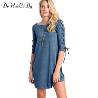 DeRuiLaDy 2018 Women Half Sleeve Lace Up Dress O Neck Loose Blue Mini Dresses Casual Sexy