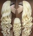 Мода Блондинка Половина Парик Длинными Вьющимися Волосами Парик Осень Парики Из Синтетических Волос для Женщин #613 Блондинка Парик Бесплатная Доставка