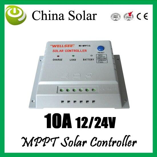 Contrôleur solaire 10A 12/24 V MPPT, contrôleur wellsee, contrôleur de charge solaire 10 ampères