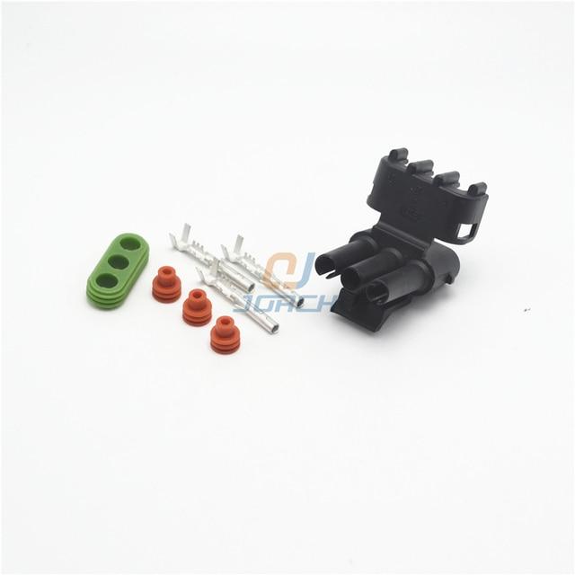 10 pcs kits 3 pin auto wiring harness delphi pa66 connector socket