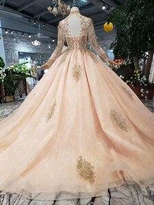 Image 2 - Pełne rękawy suknie balowe luksusowe muzułmanin różowy na szyję koronki wysadzane perłami suknia balowa 2020 wieczorowa, formalna Party spacer obok ciebie
