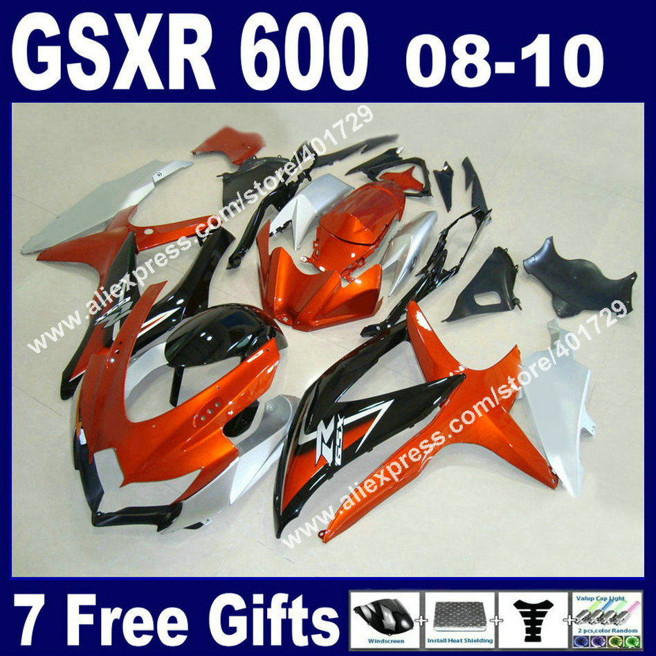 Hot sale Fairings for SUZUKI 2008 2009 2010 GSXR 600 750 K8 orange silvery black GSXR600 GSXR750 08-10 with heatshield kit YB72 7 free gifts fairing kit for suzuki k8 gsxr600 gsxr750 2008 2009 2010 white black fairings set 08 09 10 gsxr 600 750 bm17
