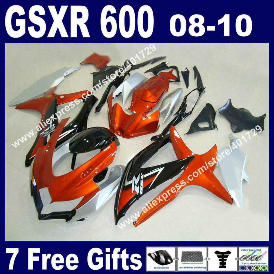 Vente chaude Carénages pour SUZUKI 2008 2009 2010 GSXR 600 750 K8 orange argenté noir GSXR600 GSXR750 08-10 avec bouclier thermique kit YB72