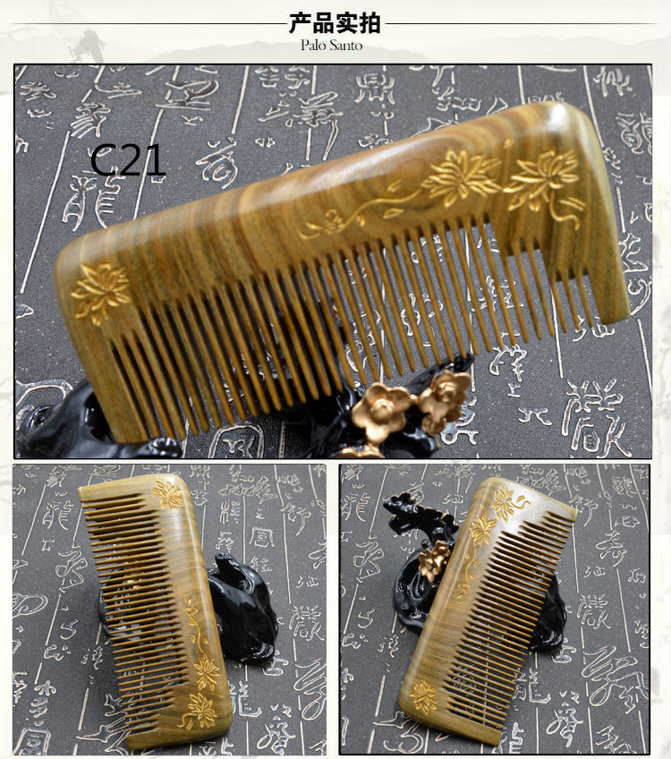 C21 Wooden comb green sandalwood gold carved holistic sandalwood comb green Tan l64 sandalwood comb green tan comb mini sandalwood comb page 7