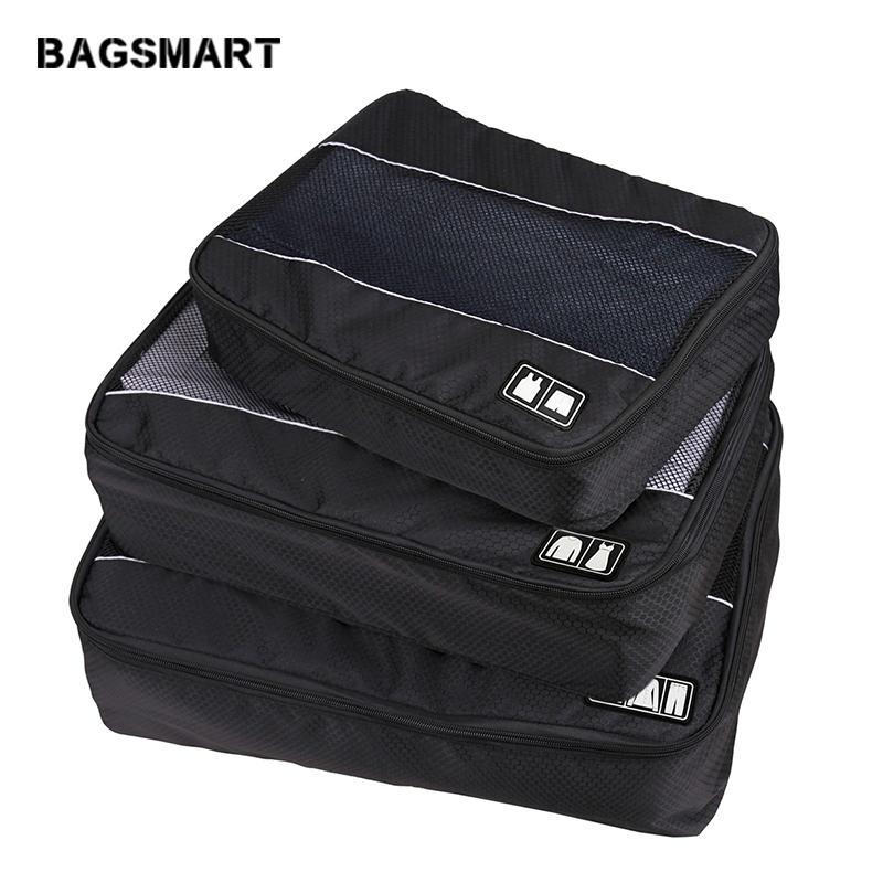 BAGSMART 3 Pcs Nylon Uni Packing Cubes For Clothes Lightweight Luggage Travel Bag For Shirts Waterproof Duffle Bag Organizers
