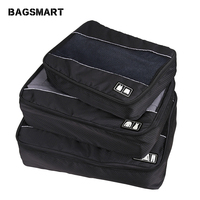 BAGSMART 3 Pcs Nylon Unisex Packing Cubes For Clothes Lightweight Luggage Travel Bag For Shirts Waterproof Duffle Bag Organizers