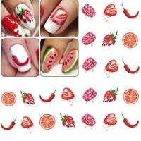 1 blatt Nagel Aufkleber Kuchen Obst Muster Nail art Wasser Transfer Decals Wasserzeichen Tattoo Aufkleber Maniküre Dekoration LASTZ489-500
