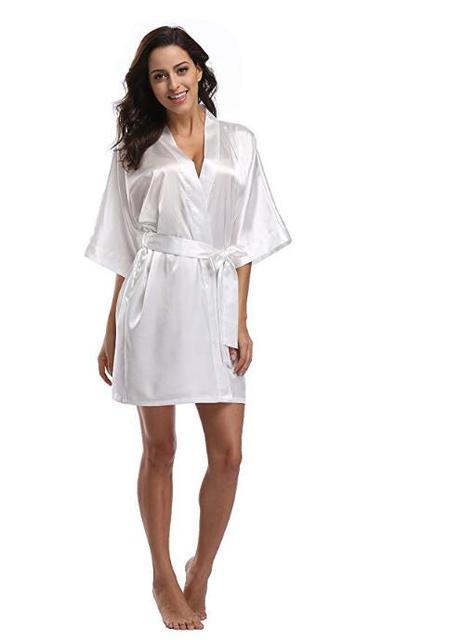 Women's Satin Pajamas Bathrobe Nightgown Wedding Kimono Bride Robe Sleepwear Bridesmaid Robes  2