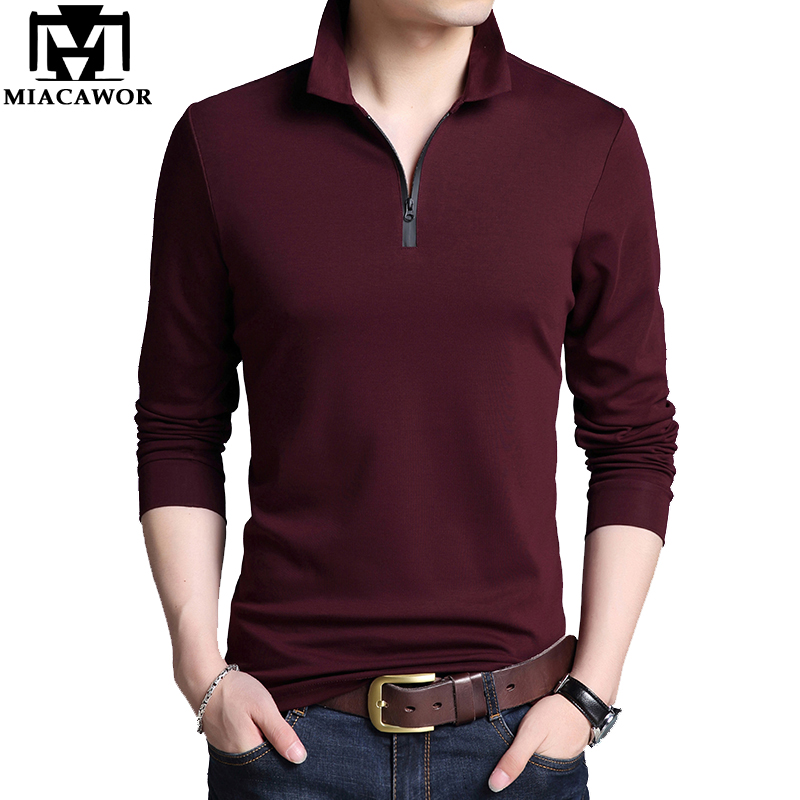 MIACAWOR New Original Brand Polo Shirt Men Solid Colors Zipper Tee Shirt Homme Casual Camisa Polo Long Sleeve Men Polo T759