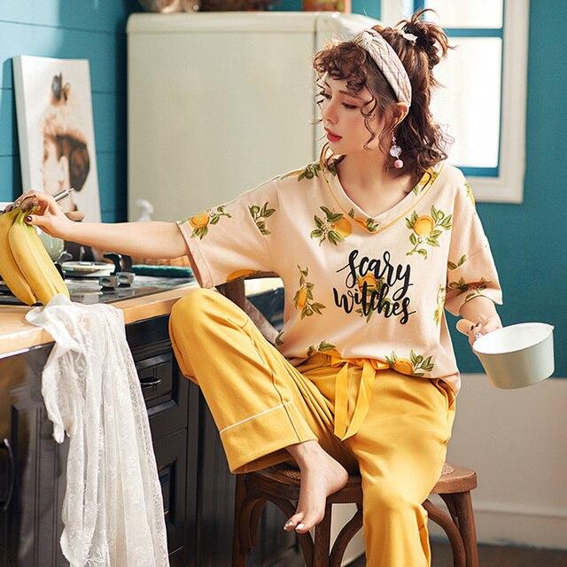 جديد الصيف منامة النساء 100% القطن منامة مجموعة قصيرة بلوزات + السراويل الطويلة ملابس خاصة الأزهار الخامس الرقبة كبيرة الحجم M XXL السيدات ملابس نوم