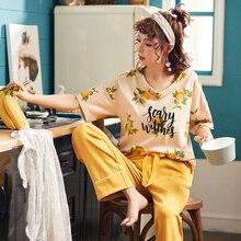 Novo verão pijamas feminino 100% algodão pijamas definir curto topos + calças compridas sleepwear floral com decote em v tamanho grande M XXL senhoras nightwear