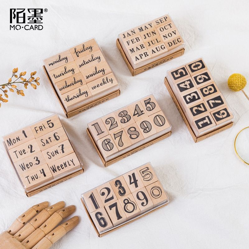 Japanese Vintage Date Stamp Set Bullet Journals Supplies Wood Stamps Basic Function Number Monthly Planner Stamps Stationery