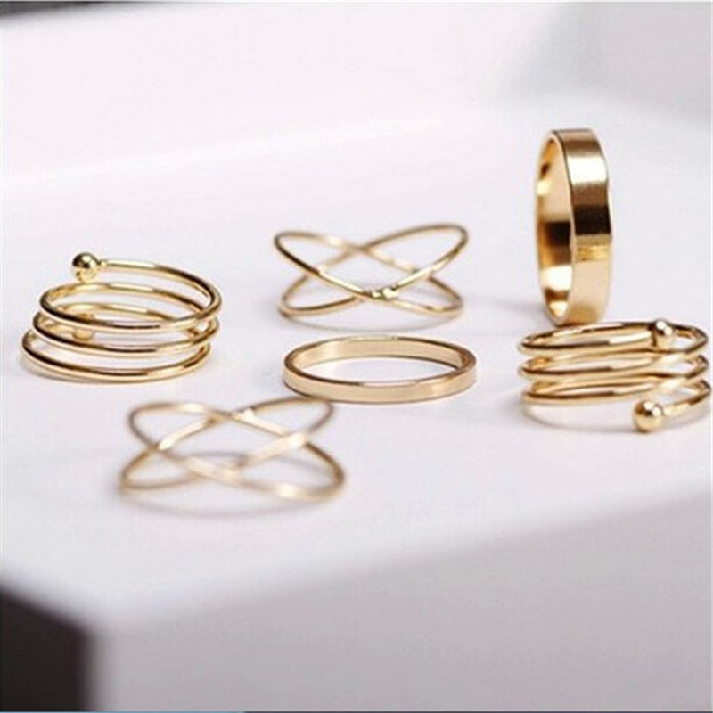 Hot Unique Ring Set Punk Gold Silver Color Knuckle Rings for Women Finger Ring 6 PCS Ring Set Best Gift