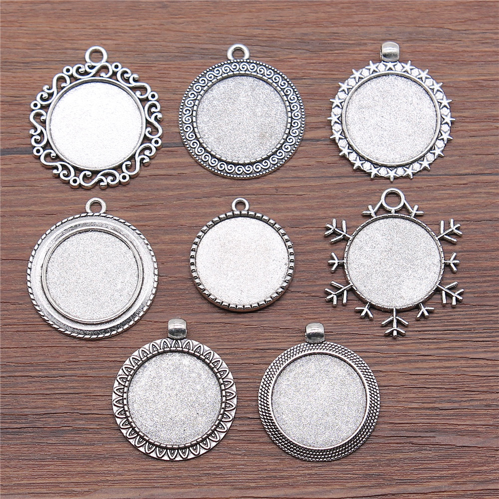 8pcs/lot Fit 25mm Round Glass Cabochon Base Setting Pendant Tray For Jewelry DIY Making Antique Silver Color FM4030