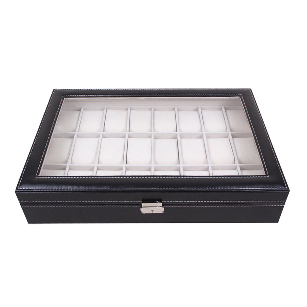 24 Grids Wristwatch Watch Box Jewelry Storage Black PU Leather Case