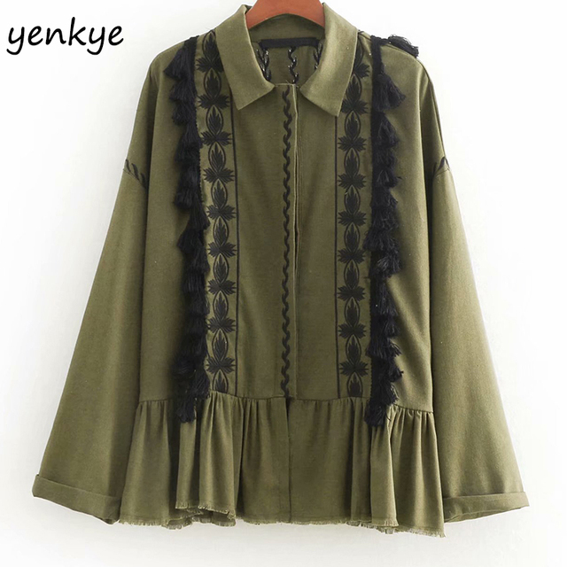 06f52901 New Fashion Women Pompoms Trims Embroidery Rustic Jacket Lady Turn-down  Collar Long Sleeve Plus