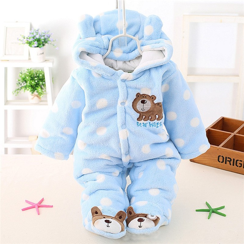 Newborn Winter Warm Baby Boy Girls Clothing Coral Bear Fleece Rompers Cartoon Infant Clothes Down Snowsuit Jumpsuits newborn baby girls rompers cotton padded thick winter clothing set cartoon bear infant climb hooded clothes babies boy jumpsuits