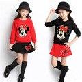 Outono inverno roupas das meninas do esporte mickey t shirt da menina dress saia duas peças de roupa dos miúdos 5 ~ 11 anos dos desenhos animados conjunto de roupas crianças