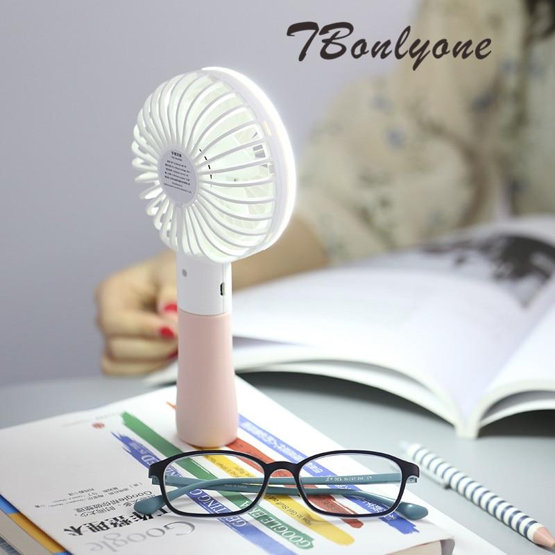 TBonlyone 1200mAh 2 Speed 2 in 1 Hand Fan Energy-Saving Battery Powered Fan for Reading Outdoor Table Mini Fan With LED Light