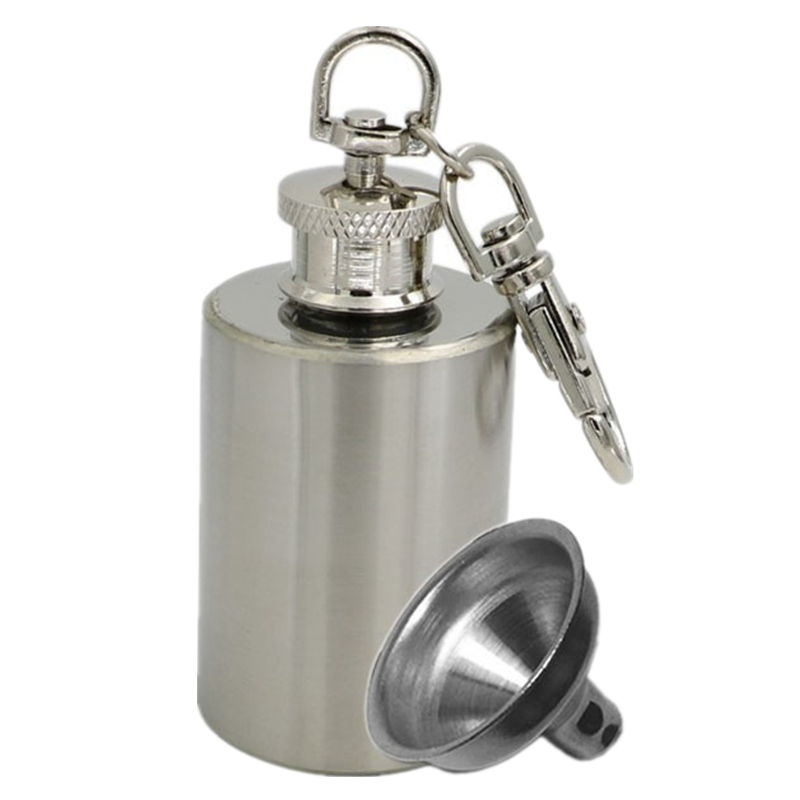 Flagon Keychain-Funnel Whisky Hip-Flask Wines-Container Stainless-Steel Mini Portable