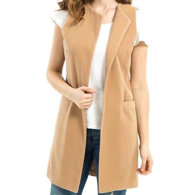 51e56ad32be78 Sleeveless Cardigan Large Size Long Spring Warm Woolen Vests Brief Jackets  for Women Fashion Waistcoats Female Black Vest Coat