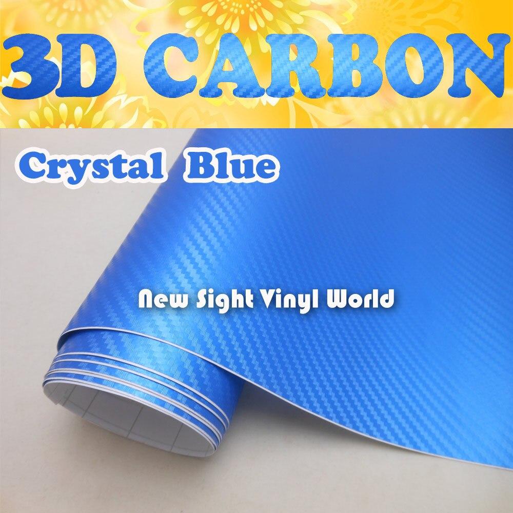 Высокое качество Кристалл синий углеродного волокна пленка Кристалл синий углеродного волокна винил обернуть воздуха бесплатный Толщина:0.18 mm Размер:1.52*30m/рулон