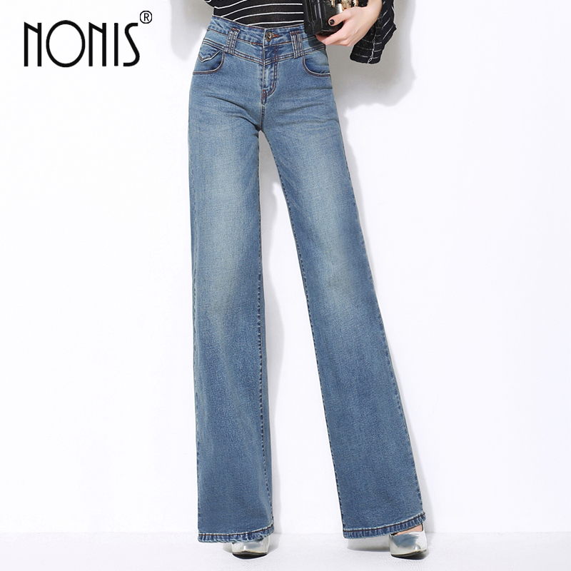 Nonis Plus Size 26-33 Women High Quality Wide Leg Jeans Ladies Fashion Full Length Big Straight Denim Trousers Boot Cut Pants
