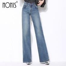 Nonis Plus Size 26-33 Women High Quality Wide Leg Jeans Ladies Fashion Full Length Big Straight Denim trousers Boot Cut Pants