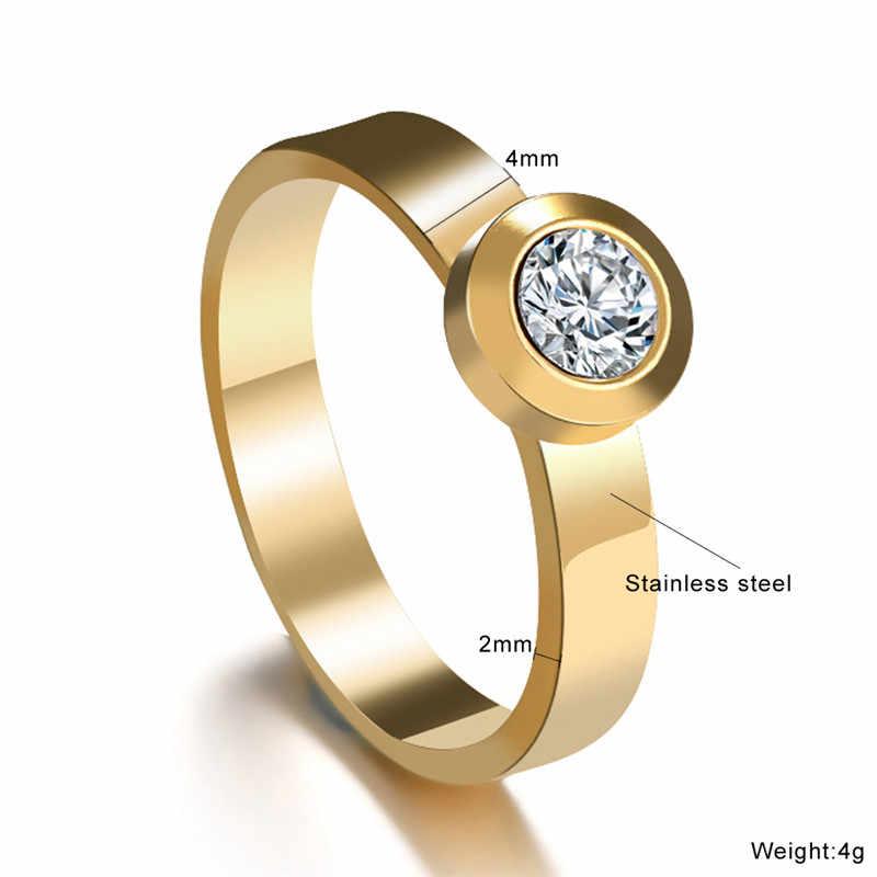 Anillos redondos Dedo de plata 316L anillo de diamantes de imitación de acero inoxidable joyería para mujer anillo de boda bonito de oro romántico
