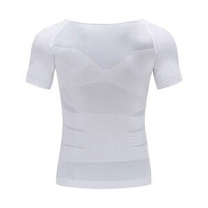 Image 4 - Mens Giảm Béo Cơ Thể Shaper Tummy Shaper T Shirt Slim Lift Corset Eo Cơ Bắp Tráng Áo Sơ Mi Chất Béo Ghi Tư Thế Chính Xác Underwears